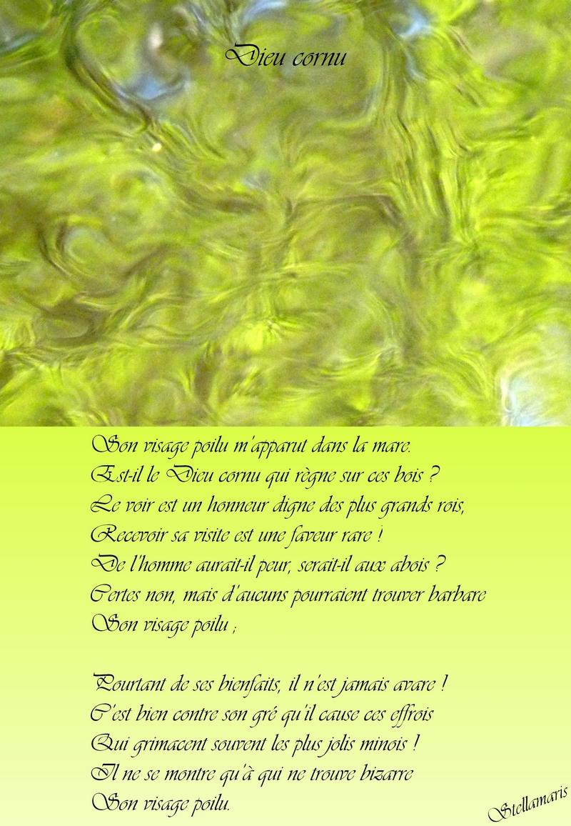 Dieu cornu / / Son visage poilu m'apparut dans la mare. / Est-il le Dieu cornu qui règne sur ces bois ? / Le voir est un honneur digne des plus grands rois, / Recevoir sa visite est une faveur rare ! / De l'homme aurait-il peur, serait-il aux abois ? / Certes non, mais d'aucuns pourraient trouver barbare / Son visage poilu ; / / Pourtant de ses bienfaits, il n'est jamais avare ! / C'est bien contre son gré qu'il cause ces effrois / Qui grimacent souvent les plus jolis minois ! / Il ne se montre qu'à qui ne trouve bizarre / Son visage poilu. / / Stellamaris