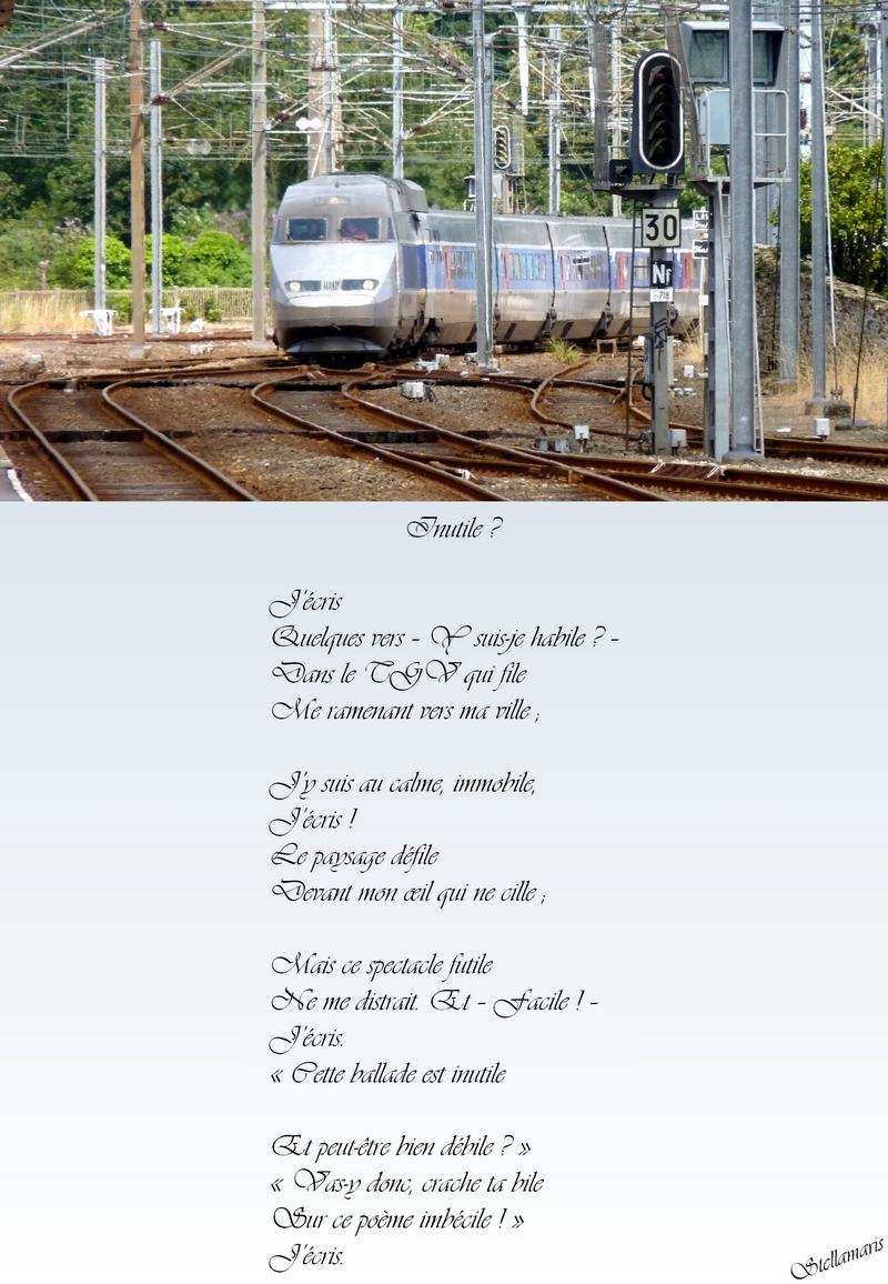 Inutile ? / / J'écris / Quelques vers – Y suis-je habile ? – / Dans le TGV qui file / Me ramenant vers ma ville ; / / J'y suis au calme, immobile, / J'écris ! / Le paysage défile / Devant mon œil qui ne cille ; / / Mais ce spectacle futile / Ne me distrait. Et – Facile ! – / J'écris. / « Cette ballade est inutile / / Et peut-être bien débile ? » / « Vas-y donc, crache ta bile / Sur ce poème imbécile ! » / J'écris. / / Stellamaris